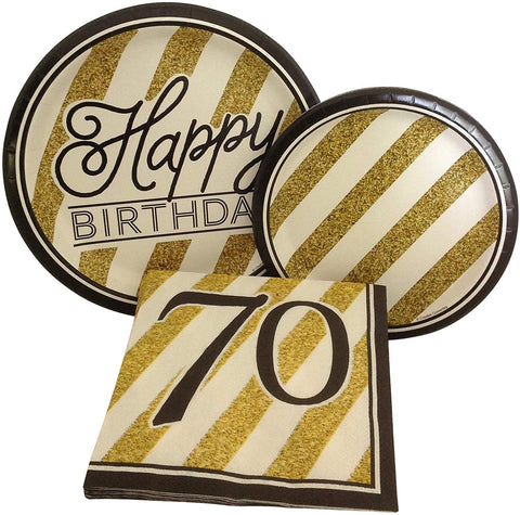 Black And Gold Happy 70Th Birthday Party Bundle With Paper Plates And Napkins For 8 Guests