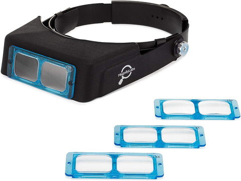 Headband Magnifier Headset - Magnifying Visor With 4 Real Glass Optical Lens Plates (1.5X, 2X, 2.5X, 3.5X)