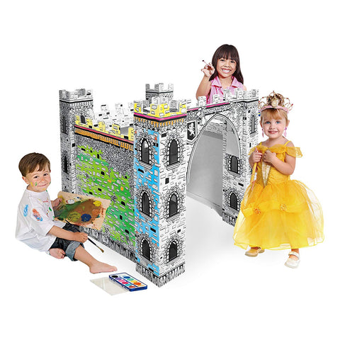 Color- It-Yourself Toy Castle, Kid-Sized Cardboard Coloring Kit