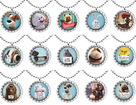 15 Secret Life Of Pets Flat Bottle Cap Necklaces For Birthday, Party Favors, Bag Fillers A1