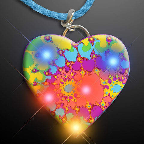 Light Up Flashing Tie Dye Heart Led Necklace