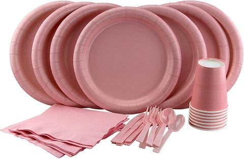 Party Lovers Premium Party Supplies Disposable Dinnerware Set - 20Pc Includes Pink Dinner Plates, Cutlery, Tablecloth Napkins And Cups - Birthday Paper Tableware Collections