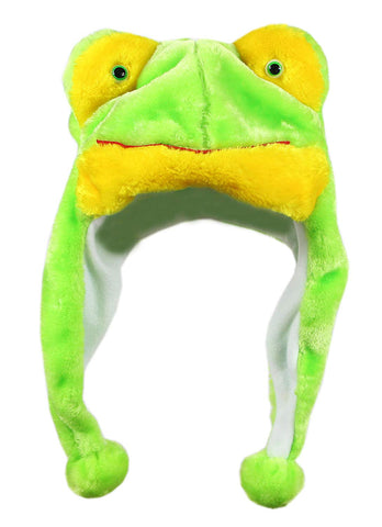 Bioterti Plush Fun Animal Hats One Size Cap - 100% Polyester With Fleece Lining (Frog)