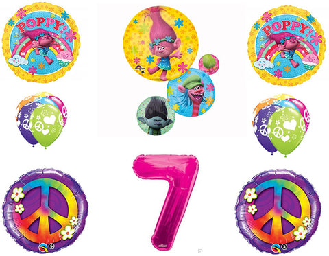 Trolls Peace 7Th Happy Birthday Party Balloons Decoration Supplies Poppy Branch Movie