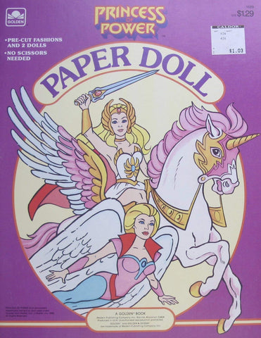 Golden Princess Of Power Paper Doll Book (Uncut) W 2 Card Stock Dolls & Pre-Cut Fashions (1985 Mattel)