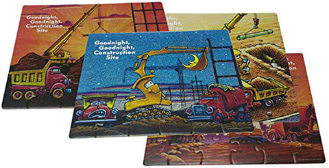 Goodnight, Goodnight, Construction Site 24 Piece Wood Jigsaw Puzzles, Set Of 4, 11""