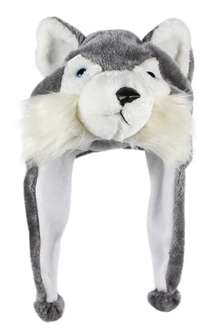 Bioterti Plush Fun Animal Hats One Size Cap - 100% Polyester With Fleece Lining (Husky)