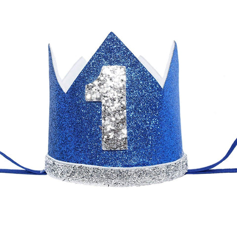 Maticr Glitter Baby Boy First Birthday Crown Number 1 Headband Little Prince Cake Smash Photo Prop (Tiny Royal & Silver 1)