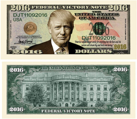 Donald Trump 2016 Federal Victory Limited Edition Presidential Dollar Bill With Bonus Thanks A Million Gift Card Set And Clear Protector