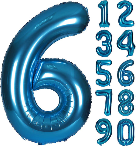 40 Inch Blue Digital Helium Foil Birthday Party Balloons Number 6