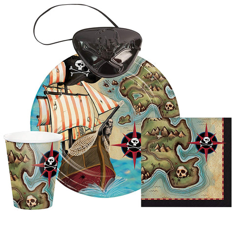Pirate'S Map Birthday Party Set For 16 With Eye Patches: Plates, Napkins, Cups And Eye Patches
