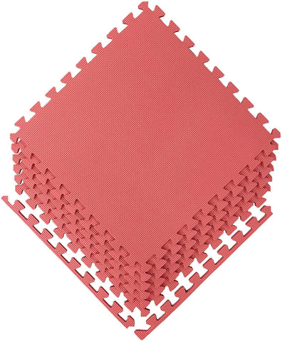 "Ottomanson Multipurpose Interlocking Puzzle Eva Foam Tiles-Anti-Fatigue Mat 24 Sq. Ft, 24"" X 24"" Tiles, Red"