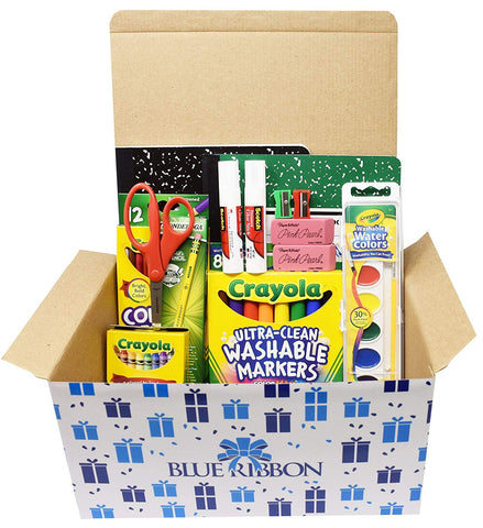 Basic Kindergarten Classroom Supply Pack In Blue Ribbon Box, Crayola Washable Markers, Crayola Washable Water Colors, Crayola Colored Pencils,Crayola Crayons