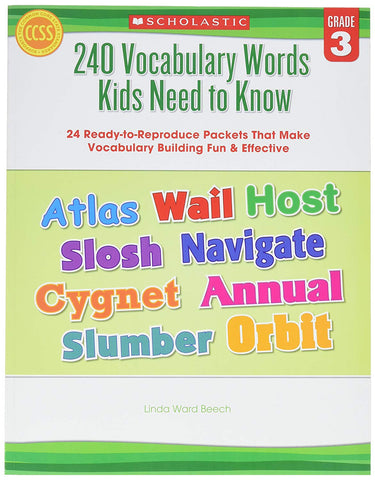 Scholastic 9780545468633 240 Vocabulary Words Kids Need To Know, Grade 3