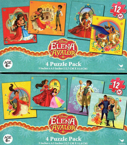 Elena Of Avalor - 4 Puzzle Pack - 12 Piece Jigsaw Puzzle (Set Of 4 Different Puzzles) - (Bundle Of 2 - 4 Puzzle Packs) - V1