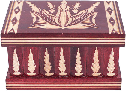 Kalotart Jewelry And Puzzle Box 2 In 1 - Handmade Wooden Case With Hidden Key And Removable Compartments - Beautiful Classical Wooden Carved Jewelry Puzzle Box (Red)