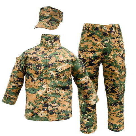 Kids Usmc 3 Pc Woodland Camo United States Marine Corps Uniform (Large 14-16)