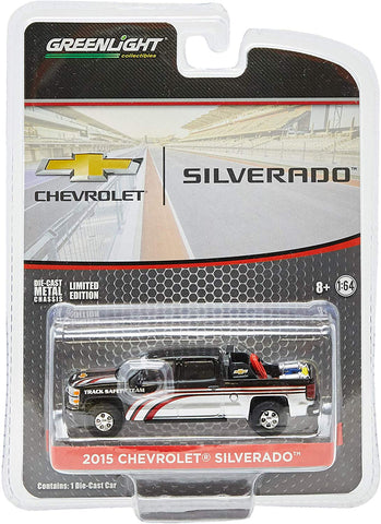 Greenlight 1:64 2015 Chevy Silverado In Black With Safety Equipment In Truck Bed (29896) Die-Cast Vehicle