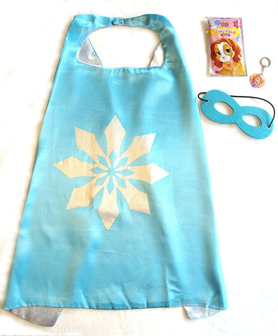 Three Piece Superhero Cape And Mask Sets For Pretend Play, Dress Up, And Parties (Blue Snowflake/Frozen)