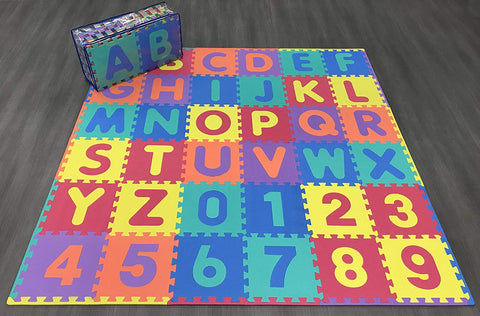 Ottomanson Alphabet & Numbers Multipurpose Interlocking Puzzly Play Mats, 36 Square Feet, Multicolor