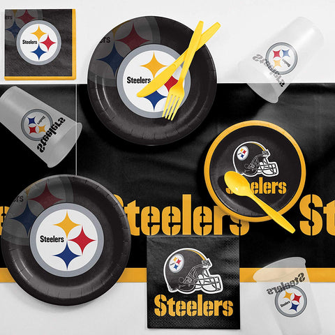 Creative Converting Pittsburgh Steelers Game Day Party Supplies Kit, Serves 8