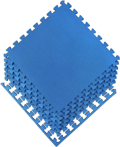 "Ottomanson Multipurpose Interlocking Puzzle Eva Foam Tiles-Anti-Fatigue Mat 24 Sq. Ft, 24"" X 24"" Tiles, Blue"
