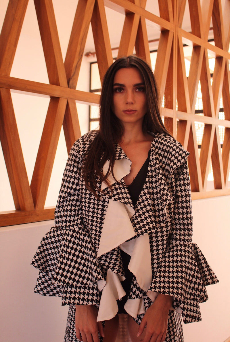 Houndstooth Kimono Ruffles in front