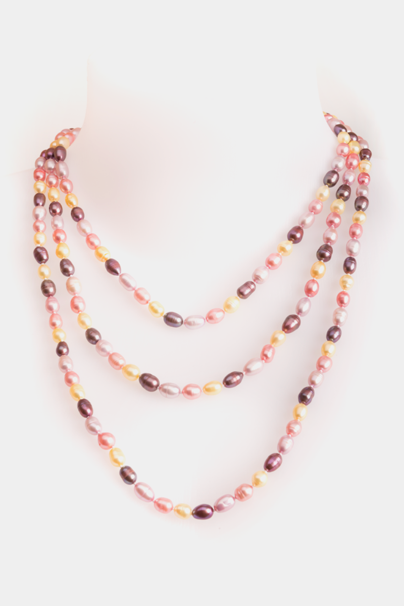 Multicolor freshwater pearls long necklace