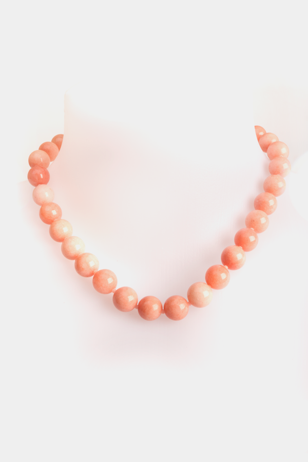 Natural Pink Chalcedony Beads Short Necklace
