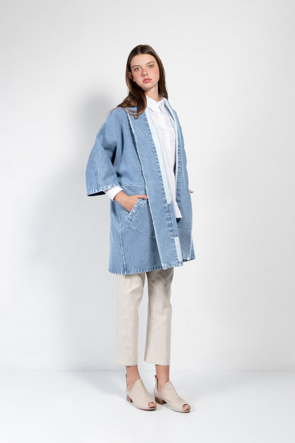 Pollux Distressed Denim Open Kimono Coat - Women