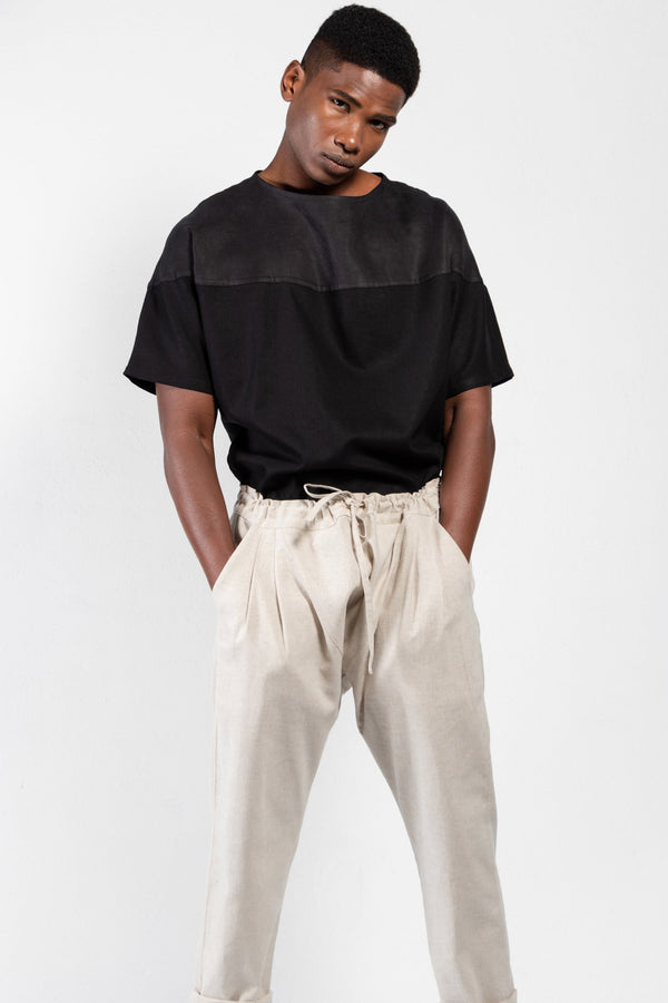 Jorge Linen Drop-Crotch Drawstring Pants - Men