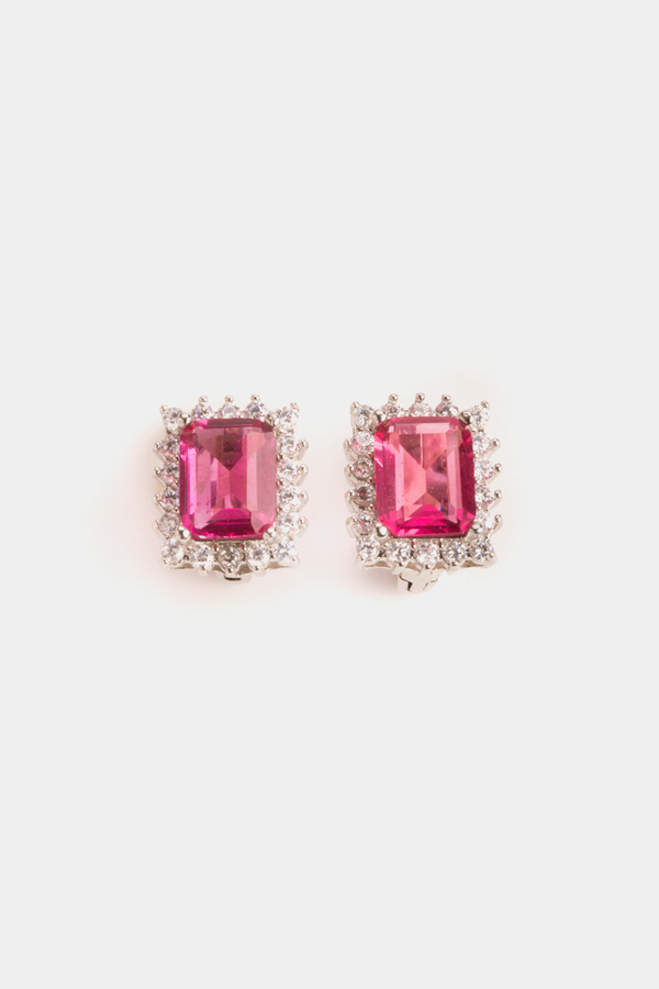 Pink Tourmaline and Diamond substitute Square Studs