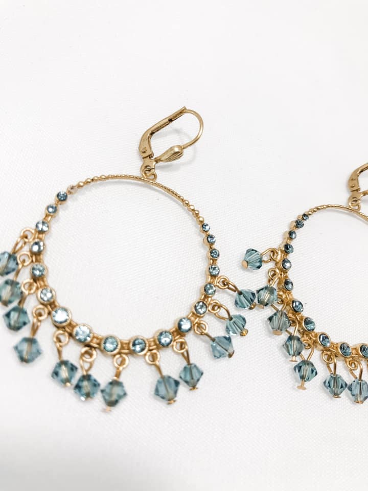 Cristaux Bleus de Dangle Earrings