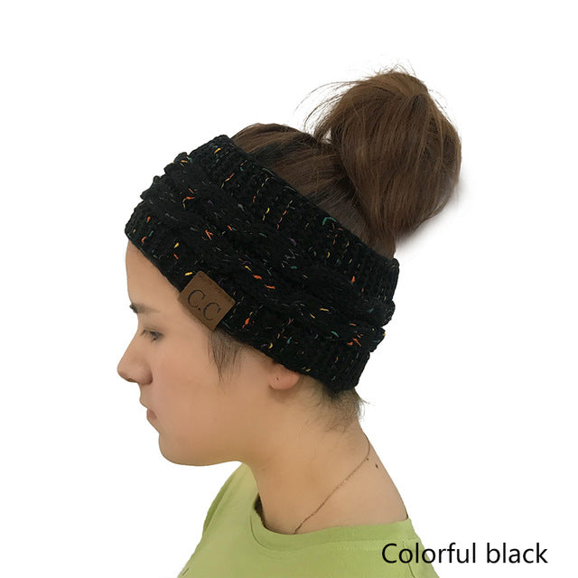 Headband - Women Knitted Ponytail Beanie Winter Head Wrap 39c52ab352e