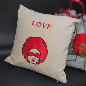 Afro Shades Valentines Cushion