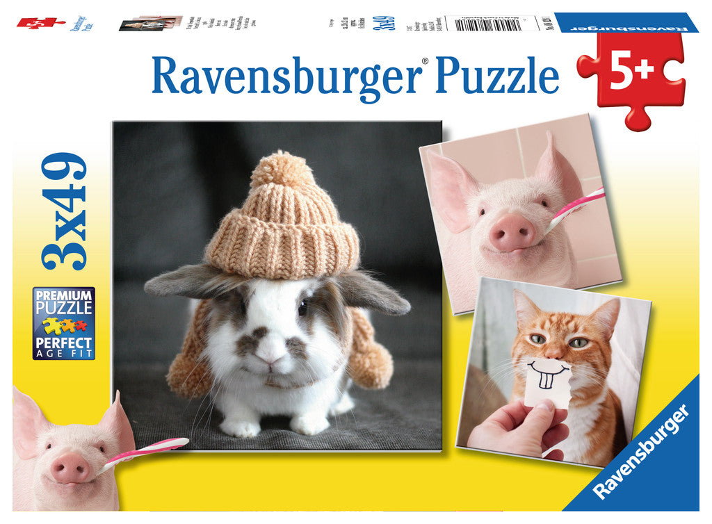 Funny Animal Portraits Triple 49 Piece Kids Jigsaw Puzzle