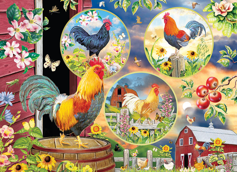 Cobble Hill Rooster Magic 500 Piece Random Cut Jigsaw Puzzle