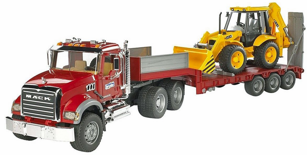Bruder Mack Dump Truck with Trailer and Backhoe
