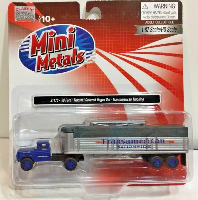 Classic Metal Works HO Scale 1960 Ford Tractor Trailer Transamerican Trucking