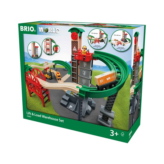 Brio Lift and Load Warehouse Wooden Railway Set