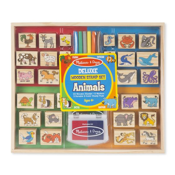 Deluxe Wooden Stamp Set Animals