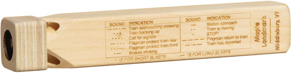 Wooden Train Whistle with Chart