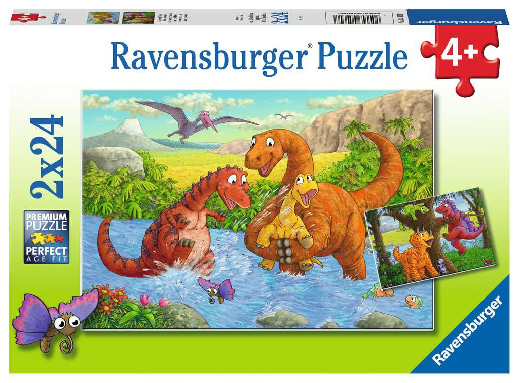 Dinosaurs at Play Dual 24 Piece Kids Jigsaw Puzzle
