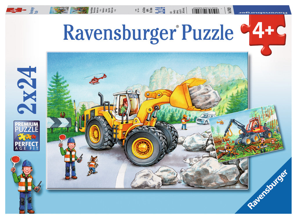 Diggers at Work Dual 24 Piece Kids Jigsaw Puzzle