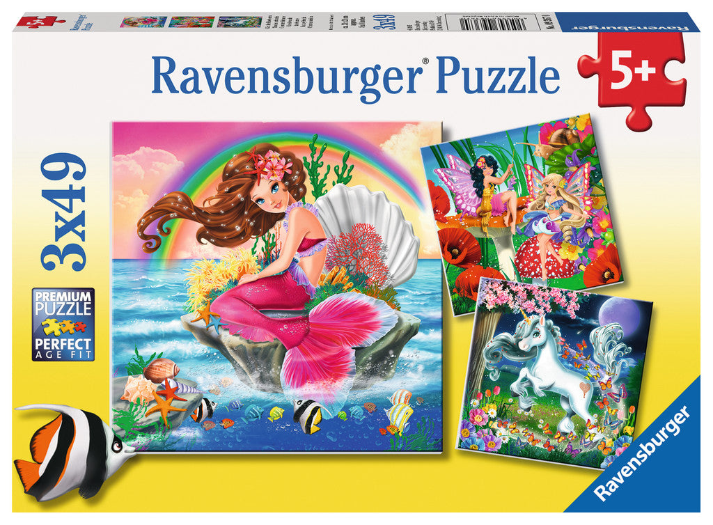 Fantasy Friends Triple 49 Piece Kids Jigsaw Puzzle