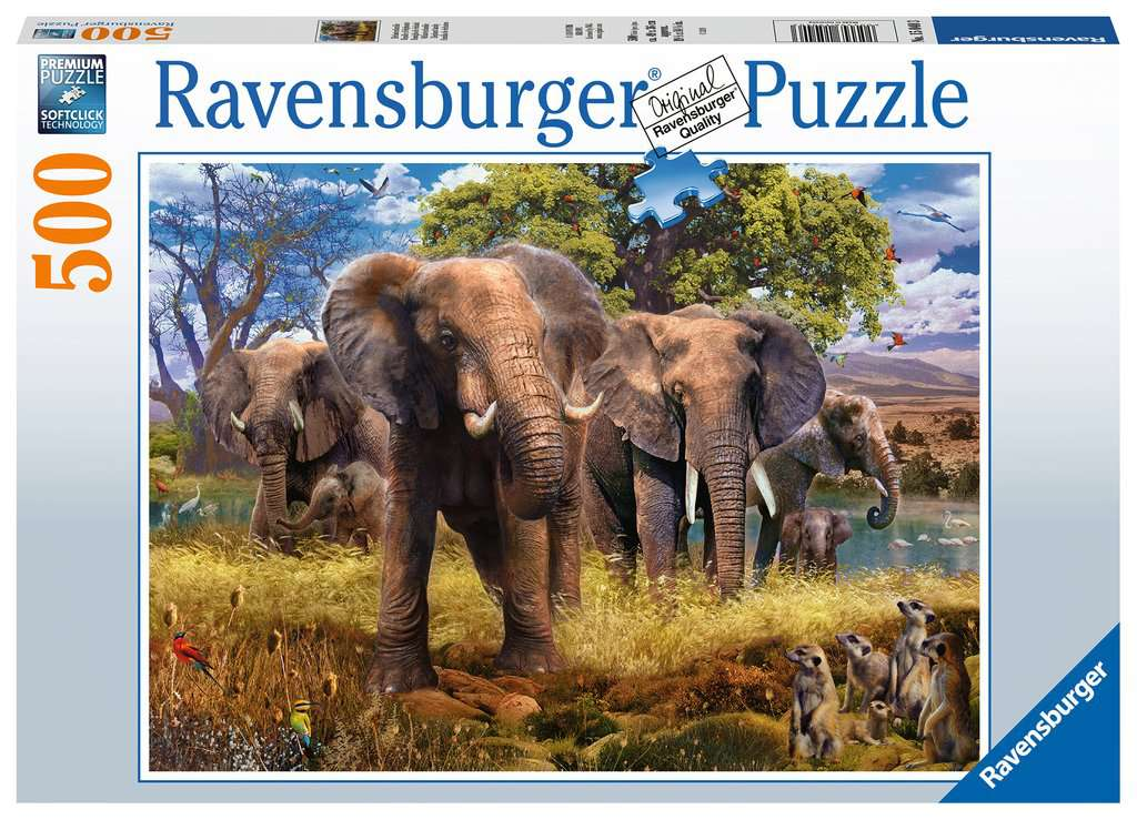 Elephants 500 Piece Jigsaw Puzzle