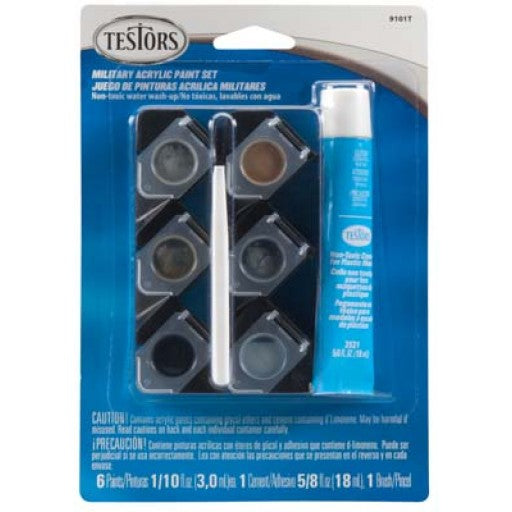 Testors 9101 Military Six Color Acrylic Paint Set