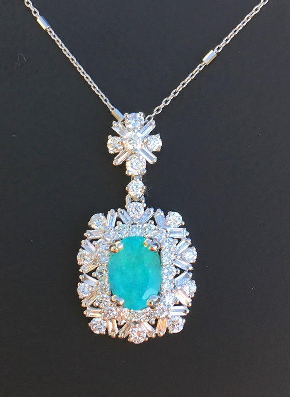 18K GOLD 3.06 AGL CERTIFIED NEON GIA BRAZIL PARAIBA TOURMALINE DIAMOND NECKLACE!
