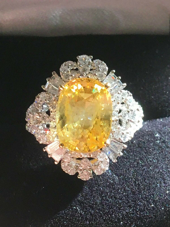 18K GOLD 8.38 CT. GIA CERTIFIED UNHEATED YELLOW SAPPHIRE