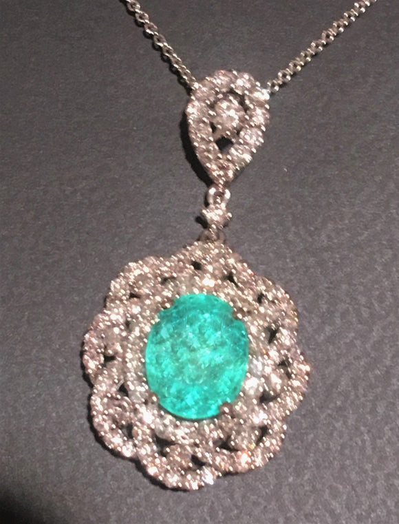 18K GOLD 4.84 CT CERTIFIED GIA NEON PARAIBA TOURMALINE DIAMOND PENDANT NECKLACE